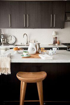 Espresso cabinets carrera marble counters mini white subway tile
