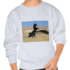 A wild rearing black stallion pullover