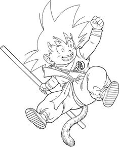 Dibujos para colorear de Dragon Ball Z Goku Drawing, Ball Drawing, Dbz Drawings, Dark Art Drawings, Dragon Ball Gt, Coloring Books, Coloring Pages, Anime Lineart, Kid Goku
