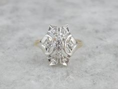 1940's Two Tone Cocktail Dinner Ring Diamond from marketsquarejewelers on Ruby Lane