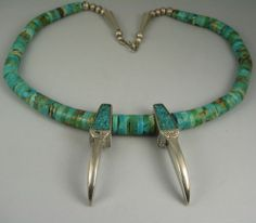 Vntg Pueblo Natural Turquoise Amp Silver BearClaw Necklace | $133.50