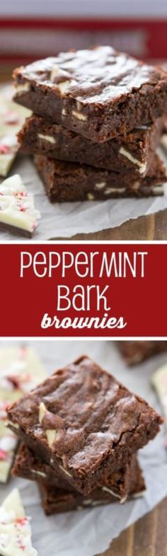Peppermint Bark Brownies - easy brownies with just 5 ingredients!!