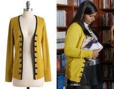 """193340d505 Modcloth have brought back Mindy's cardigan from """"Hiring and Firing"""" and  """"My Cool Christian Boyfriend""""! themindyprojectstyle: """" Mindy wore this  yellow open ..."""
