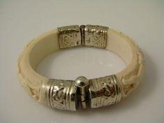 Ivory Bracelet Sterling Silver Animal Motif Hinged Bangle