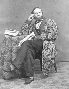 Early 1860s image of a man in a paisley dressing gown and braided slippers, from the collection of William Christen IV. No backmark.