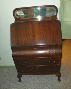 Lot #129 - Antique Slant Front Secretary Desk With Top Mirror