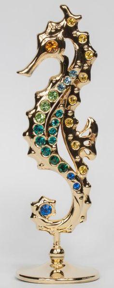 Seepferd Seepferdchen Deko-Figur goldfarben MADE WITH SWAROVSKI ELEMENTS - premium-kristall