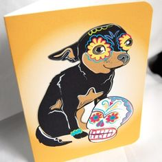 Muertos Chihuahua Greeting Card by AfricanGrey on Etsy