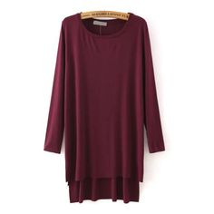 High Low Slit Side Maroon T-shirt ($14) ❤ liked on Polyvore featuring tops, t-shirts, red, red long sleeve tee, purple top, red long sleeve t shirt, round neck t shirt and maroon t shirt