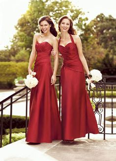 Two  choices for bridesmaid dress in fuchsia, had a rhinestone brooche in store, not sure why not pictured, the girls didn't realize it had the halter straps, and actually were wearing it tucked in rather way it looks prettier in person than here