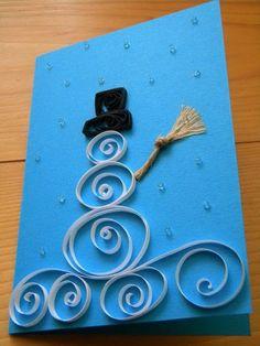 quilling papier schneemann weihnachtskarten selber basteln