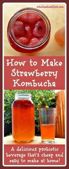 Learn how to make your own strawberry kombucha at home. This probiotic beverage is delicious and cheap and easy to make at home!