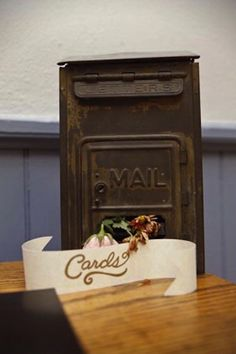 vintage mailbox for cards - set at gift table Wedding Mailbox, Card Box Wedding, Diy Wedding, Wedding Ideas, Wedding Inspiration, Dream Wedding, Wedding Stuff, Wedding Card Holders, Trendy Wedding
