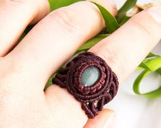 Macrame ring macrame jewelry ring with cabochon by KaramelMacrame