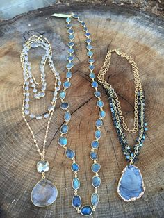 Gemstones and gold necklaces. Lisajilljewelry.com