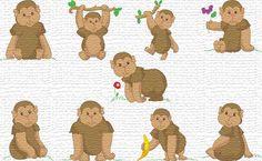 Free embroidery designs     Little monkeys