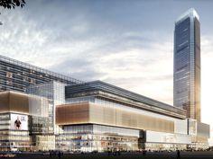 项目位于宝安北路与梨园路交汇处,在深圳市笋岗片区的核心地带,由一座 300 余米的超高层塔楼(包括五星级酒店和甲级写字楼)、一座 25 层的公寓楼和 11 层的裙楼(大型购物中心、批发零售市场、会展、影院等)组成的综合体。