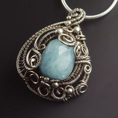 Blue Aquamarine and Sterling Silver Sculpted by SamBraundJewellery