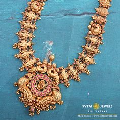 Look more traditional with this gold long necklace beautified with the sculpting of the Peacock studded with a Uncut Diamond,Ruby,Emerald, kemp stone. Indian Gold Jewellery Design, Antique Jewellery Designs, Gold Earrings Designs, Gold Wedding Jewelry, Gold Jewelry, Bridal Bangles, Uncut Diamond, Sculpting, Necklace Set
