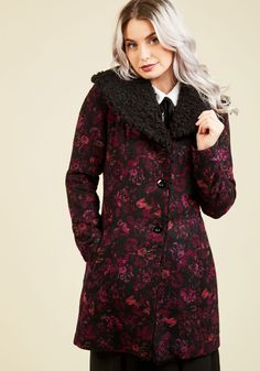Hone in on Haute Coat. Your fashion senses never lead you astray - in fact, they'll direct you right to this floral coat from Jack by BB Dakota! #black #modcloth