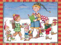 Mary Engelbreit The Night Before Christmas illustration --elf-art-christmas-illustration. Snowman Clipart, Christmas Clipart, Christmas Images, Christmas Elf, Xmas, Christmas Cards, Mary Engelbreit, Decoupage, Elf Art