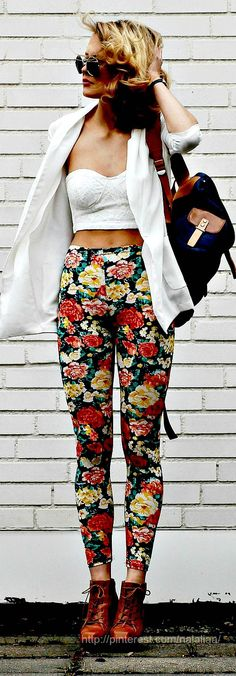 floral pants and a crop top