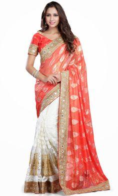 Peach Soft Net Half and Half Wedding Sari 56000
