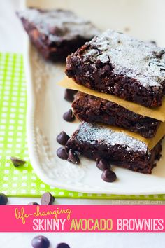 Life-Changing Skinny Avocado Brownies- crave-worthy at a fraction of the calories, these babies are made from only TWO ingredients! #brownie...