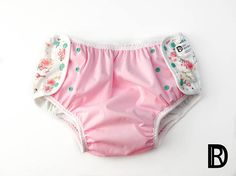 Double Sissy Adult Diaper with Pink PUL and Birds and Flowers.