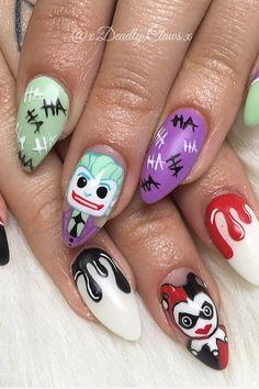 Even Batman Would Admit These Joker Nail Art Looks Are Seriously Impressive Nail Art Disney, Disney Acrylic Nails, Best Acrylic Nails, Acrylic Nail Designs, Marvel Nails, Batman Nails, Joker Batman, Gotham Batman, Batman Art