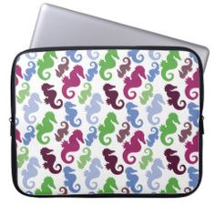 Seahorses Pattern Nautical Beach Theme Gifts Laptop Computer Sleeve