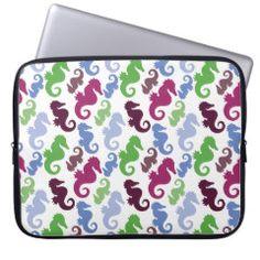 Seahorses Pattern Nautical Beach Theme Gifts Laptop Computer Sleeve