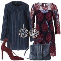 Un outfit chic e di classe pensato per una cerimonia o una serata elegante: cappotto avio, jacquard, fantasia bicolore, collo tondo, monopetto, zip, multitasche, abbinato a vestito corto dark blue, scollo tondo, maniche a 3/4, impreziosito da strato in pizzo burgundy. Décolleté in pelle burgundy, lacci da annodare alla caviglia, punta, tacco a spillo, borsa in pelle a mano blu, tracolla, originale motivo di impunture, orecchini pendenti tondi.