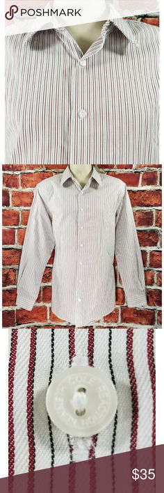 Slim Fit Wrinkle Free Kenneth Cole Reaction Dress Shirt  Excellent Condition See all 4 Pictures SLIM Fit Wrinkle Free Maroon & White Striped 100% Cotton  Size: Large 16.5-34/35 Across Chest: 23 Length: 32 Sleeve: 25.5 Kenneth Cole Reaction Shirts Dress Shirts