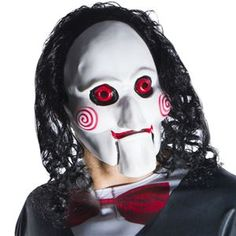 No one will want to play any games with you this Halloween when you wear the Jigsaw (Saw Billy Mask. Perfect for creating nightmares for all that cross your path, this frightening white design features the iconic cheek squiggles and black hair. Halloween Makeup Clown, Halloween Costume Accessories, Halloween Make Up, Halloween Costumes, Creepy Halloween, Clown Maske, Billy The Puppet, Adulte Halloween, Jigsaw Saw