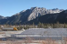 Heart Mountain across the Baymag Mineral Processing Facility in the Bow Valley Corridor west of Calgary, Alberta, Canada.