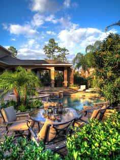 Tropical landscape complete with pool and spa