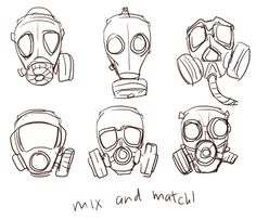 gas mask girl drawing - Google Search