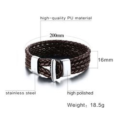 2017 Hot Black Fashion multilayer genuine leather bracelet for men punk charming stainless steel hand made women bangle jewelry