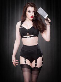 Van Doren 6-Strap Suspender Belt in Black | Kiss Me Deadly