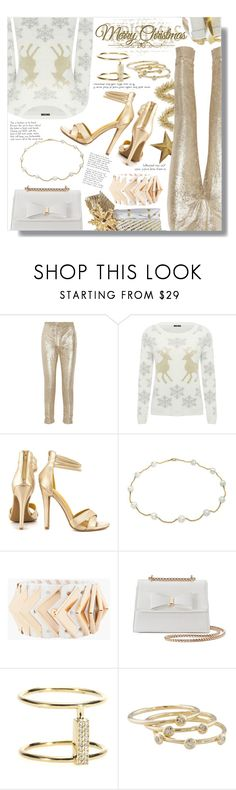 """""""White & Gold Christmas"""" by faleur102 ❤ liked on Polyvore featuring Pedro del Hierro, M&Co, Shoe Republic LA, Bling Jewelry, Balmain, Kiss Me Couture, Ileana Makri, London Road, Christmas and gold"""