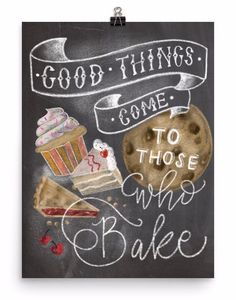 Kitchen Decor - Kitchen Chalkboard Art - Gift for the Baker - Baking Art - Kitchen Art - Illustration Print - For the Bakery - Bakery Art Chalkboard Wall Art, Kitchen Chalkboard, Chalkboard Lettering, Chalkboard Designs, Chalkboard Drawings, Chalk It Up, Chalk Art, Kitchen Humor, Funny Kitchen