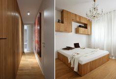A sinistra: il lungo percorso che distribuisce la zona notte. A destra: una delle camere da letto doppie in legno di rovere