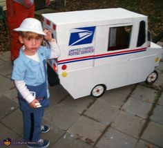 This is Micah The Mail Man and his truck DIY Halloween costume. We made the truck out of cardboard, glue & paint and set this on a Radio Flyer wagon ! Wagon Halloween Costumes, Wagon Costume, Halloween Costume Contest, Halloween Outfits, Homemade Costumes, Homemade Halloween, Baby Halloween, Diy Costumes, Costume Ideas