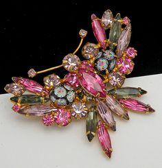 Vintage Pink Blue Rhinestones Sugar Coated Polka Dot Art Glass Butterfly Brooch | eBay
