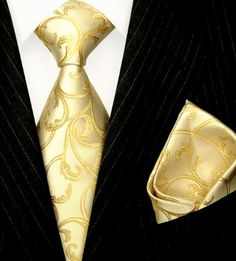 LORENZO CANA Luxury Italian Pure Silk Tie Set With Hanky Wedding Necktie Ivory Gold Patterned 84335 Brand : LORENZO CANA. Men's woven silk tie set with hanky - Excellent Quality. 100% Pure Silk. Hand Made , Jacquard Woven Silk. Designer necktie set with hanky.