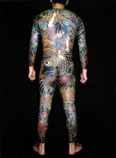 "Irezumi tattoo. ~ Not all people tattooed in this style are ""yakuza"". The Irezumi were outlawed in the Meiji period, and irezumi took on connotations of criminality."