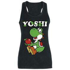Nintendo - Yoshi Apple  - Front bedruckt - lang geschnitten - offene Schulterpartie (Razorback-Top)   Das Girl-Top 'Yoshi Apple' von Nintendo kommt mit allem, was ein Lieblingsstück haben muss: Hammer Farbe, bequeme Form und verdammt geiler Print. Das schwarze Longtop zeigt den bombastischen Yoshi, mit einem großen roten Apfel in der Hand. Zeit wird's, das Yoshi Dich nicht mehr nur auf der Konsole zum Lachen bringt!