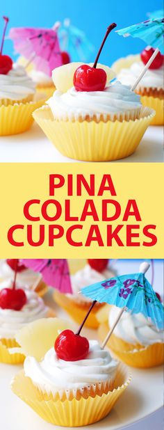 Tropical Pina Colada Cupcakes have a fluffy pineapple cupcake base, a creamy coconut frosting, and are topped with a maraschino cherry, a pineapple slice, and a tiny umbrella. They're a kid-friendly cupcake that taste like the piña colada cocktail without the rum!