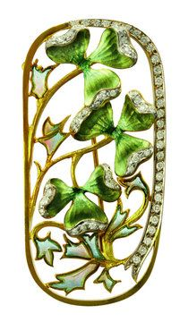 A Louis Masriera opal, diamond, enamel and gold clover brooch.